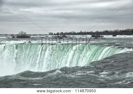 View of the horseshoe falls from canadian border at Niagara falls during winter season