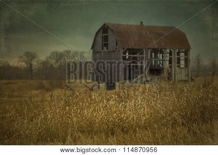 Abandoned barn in a field in Ontario, Canada.  Cross processing to look like an used picture with texture