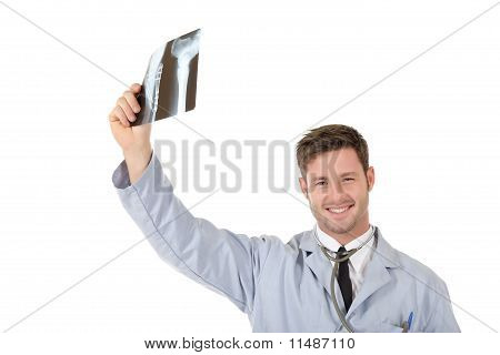 Young Successful Caucasian Man Doctor, Xrays
