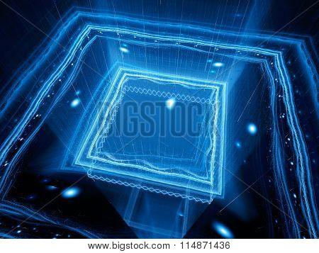 Blue Glowing Quantum Processor