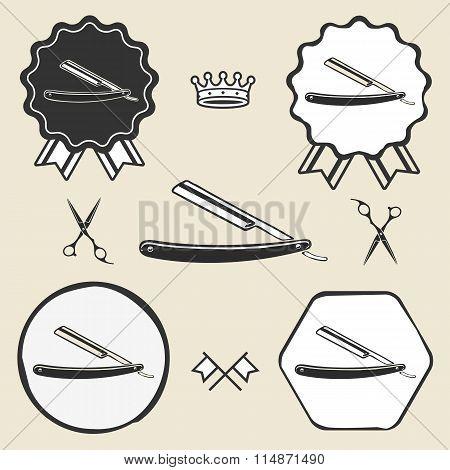 razor barber symbol emblem label collection