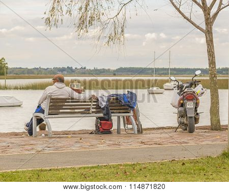 Adult Man Sitting Watching The River