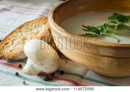 Close Up Image Of Mushroom Soup With Mushrooms