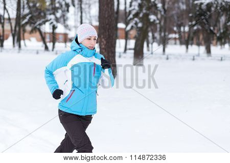 Young Running Or Jogging Caucasian Woman
