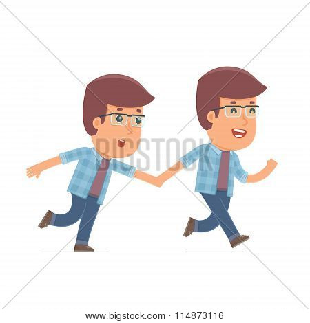Happy And Joyful Character Freelancer Runs And Drags His Friend To Show Him Something