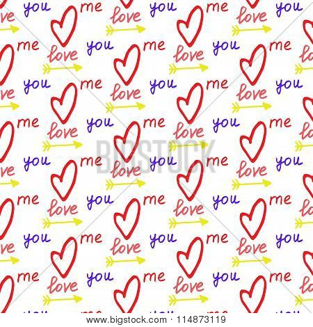 Hand drawn valentines pattern
