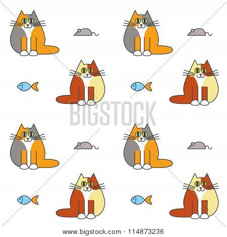 Happy furry  cats seamless pattern.