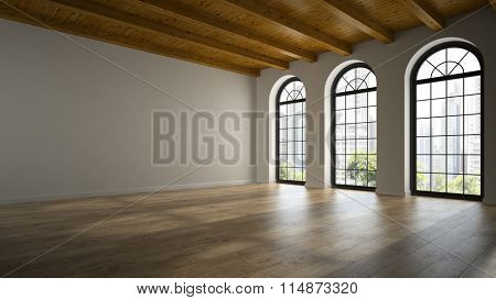 Empty loft room with arc windows 3D rendering