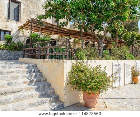 Inner garden in monastery of Arkadi, Crete, Greece