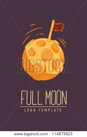 Cosmic Thin Line Colored Vector Illustration With Lettering. Concept: Star In Galaxy Or Lunar Surfac