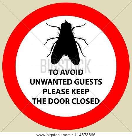 Sticker with Warning sign insect fly icon. Fly Silhouette  Vector