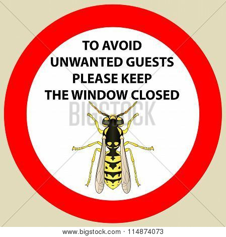 Sticker with Warning sign insect  wasp icon . Wasp Silhouette  Vector