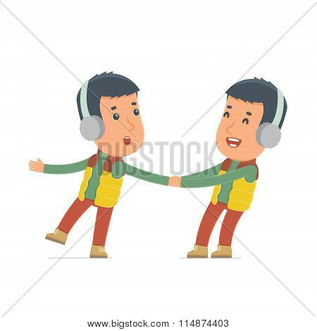 Funny And Cheerful Character Winter Citizen Drags His Friend To Show Him Something