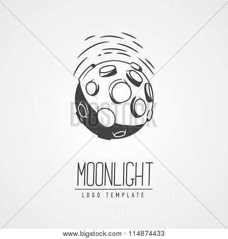 Cosmic Thin Line Vector Illustration. Concept:  Star In Galaxy. Asteroid, Crater, Lettering.  Templa