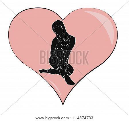 Silhouette Of Girl On Heart
