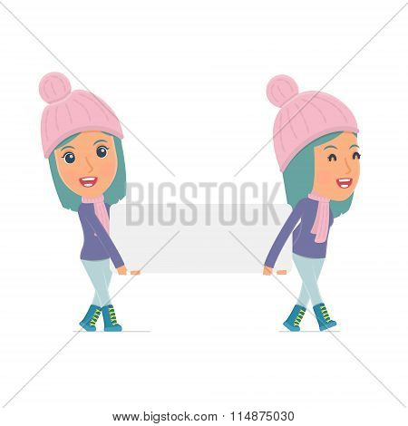 Funny Character Winter Girl Holds And Interacts With Blank Forms Or Objects