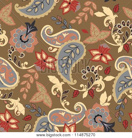 Seamless Paisley Background.isolated Flowers And Leafs On Beige Background.