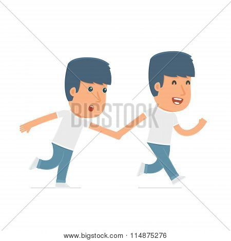 Happy And Joyful Character Activist Runs And Drags His Friend To Show Him Something