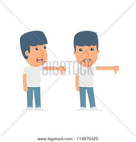 Frustrated And Angry Character Activist Showing Thumb Down As A Symbol Of Negative