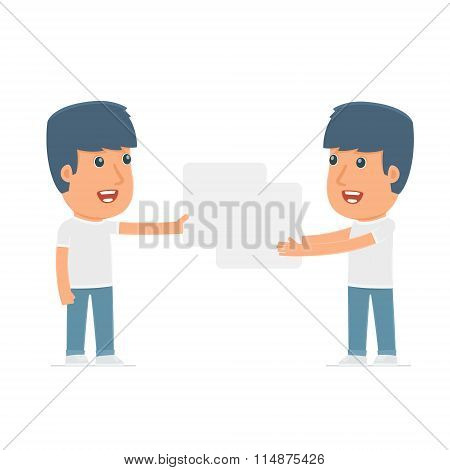 Funny Character Activist Holds And Interacts With Blank Forms Or Objects