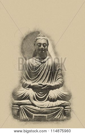 Vintage toned seated statue of Buddha with a grunge textured effect and copy space for your spiritual message