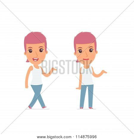 Funny And Cheerful Character Blogger Girl Making Presentation Using His Hand