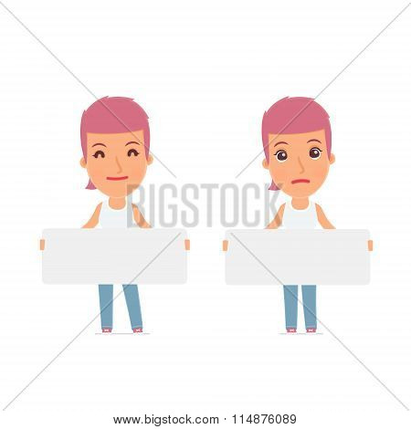 Funny Character Blogger Girl Holds And Interacts With Blank Forms Or Objects