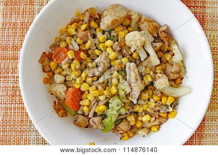 Chicken And Vegetables Dinner Bowl