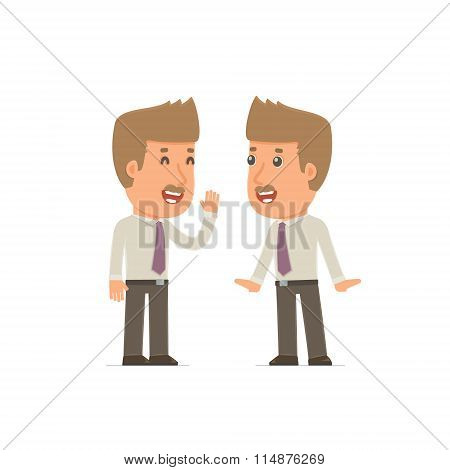 Cunning Character Broker Gossiping And Telling Secret To His Friend