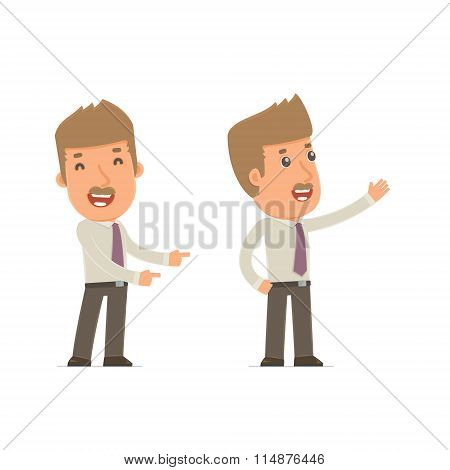 Happy And Cheerful Character Broker Making Presentation Using His Hand