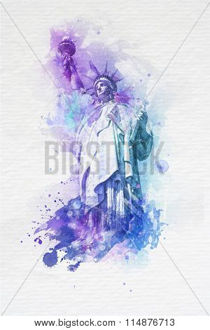 Artistic watercolor paint effect of the Statue of Liberty in purple and blue with splashes of paint on a textured off white background