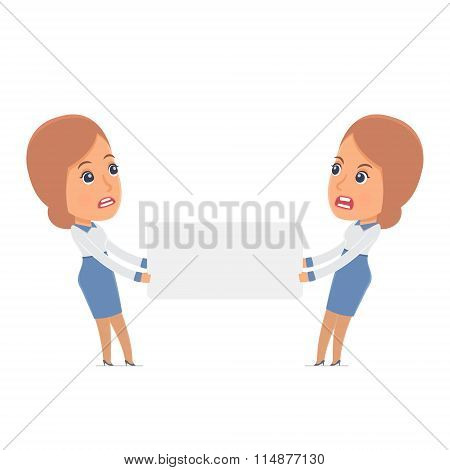 Funny Character Consultant Girl Holds And Interacts With Blank Forms Or Objects