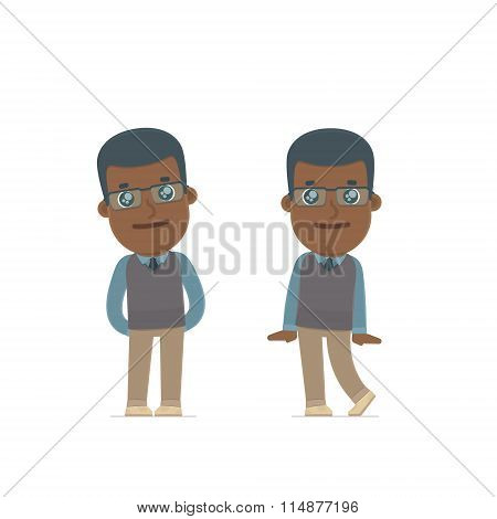 Cute And Affectionate Character African American Teacher In Shy And Awkward Poses