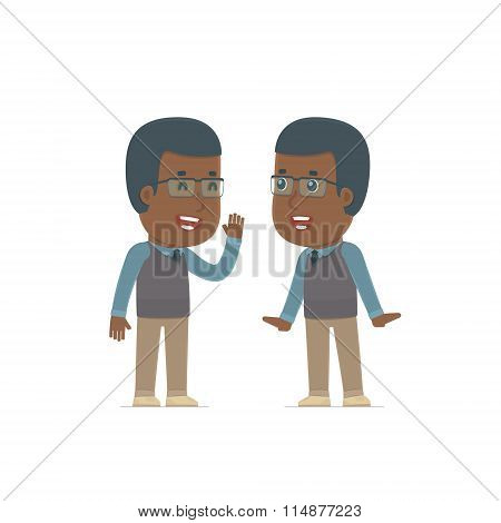 Cunning Character African American Teacher Gossiping And Telling Secret To His Friend