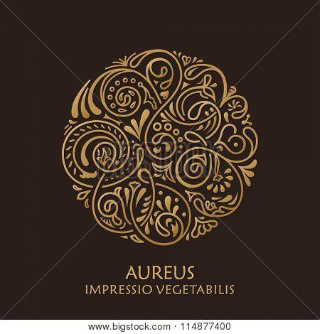 Round calligraphic emblem. Vector floral symbol for cafe, restaurant, shop, print, stamp. Logo design template label for coffee, tea, mug, business card. Isolated ornament