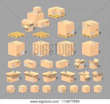 Cube World. Cardboard boxes