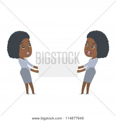 Funny Character Social Worker Holds And Interacts With Blank Forms Or Objects