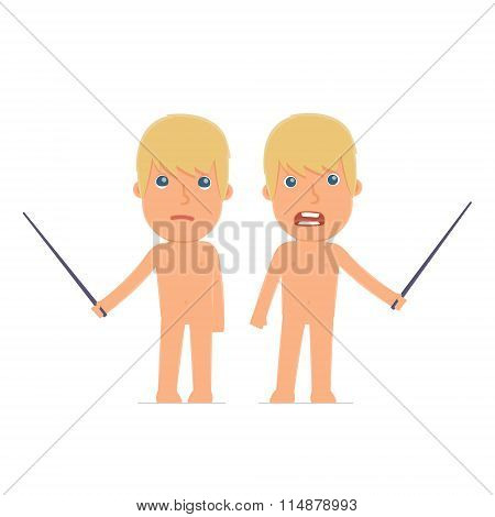 Angry And Sad Character Naked Man Making Presentation Using Pointer