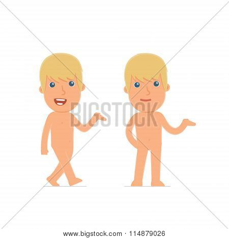 Funny And Cheerful Character Naked Man Making Presentation Using His Hand