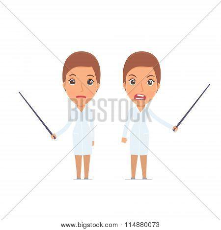 Angry And Sad Character Nurse Making Presentation Using Pointer