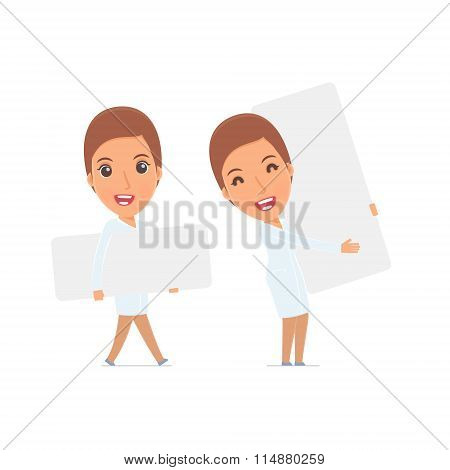 Funny Character Nurse Holds And Interacts With Blank Forms Or Objects