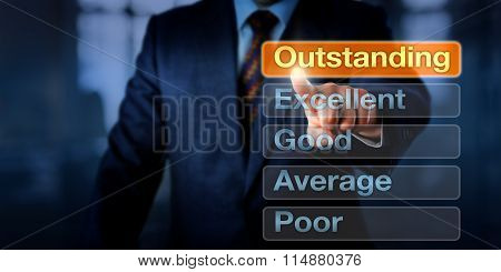 Manager Selecting Outstanding Button