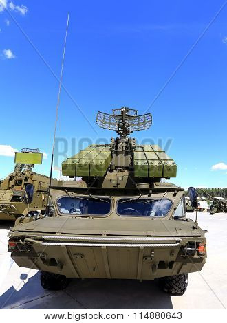 MOSCOW REGION  - JUNE 17: Containers with missiles and radar antenna of the air defense system  -  on June 17, 2015 in Moscow region
