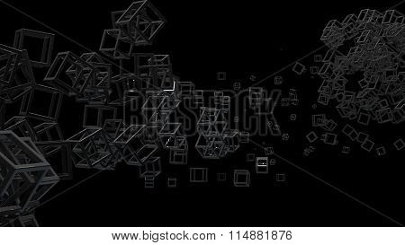 Glossy cubic frame in random order hanging in the air on a black background. Abstract illustration w