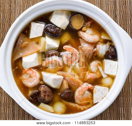 Fresh Asian Soup On Bamboo Mat Background