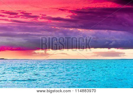 Over Water Fiery Backdrop