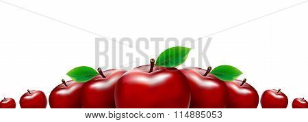 Border of red apples. Template for your design.