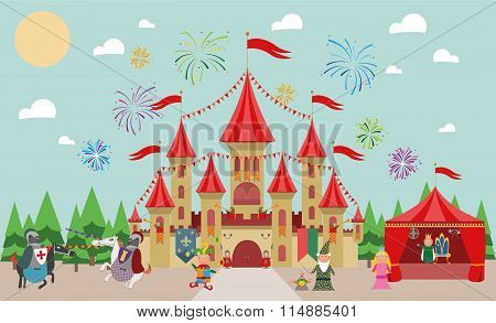 Medieval Castle with characters king