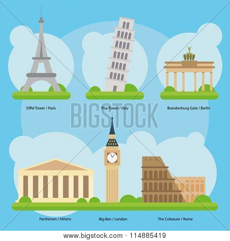 Vector illustration of Monuments and landmarks in Europe Vol. 1