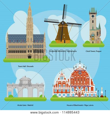 Vector illustration of Monuments and landmarks in Europe Vol. 3